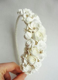 Discover thousands of images about Flower Girl Headband Wedding Headpiece by LilMajestyBoutique Floral Headband Wedding, Ivory Wedding Flowers, Bridal Tiara, Flower Girl Headbands, Floral Headbands, Vintage Headbands, Clay Flowers, Fabric Flowers, Rosé Hair