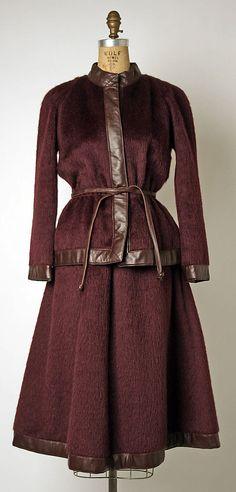 bonnie cashin wool/leather suit, 1970.