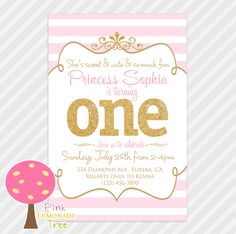 Pink And Gold First Birthday Party Invitation Glitter Princess One