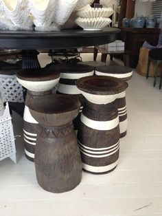 African Lozi Stool Side Table