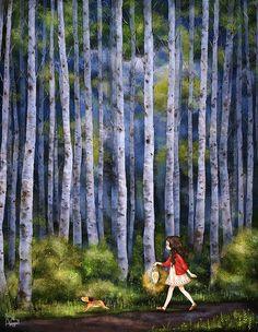 코스모스가 핀 언덕 너머 꼬불꼬불한 오솔길을 지나 흰 자작나무 숲. 어두운 산길을 램프 하나에 의지한 채 걷고 또 걸어요. Over the cosmos-covered hills, along the long and winding trail and into the white birch forest. Endlessly walking down the dark forest road, with only a lamp to lead the way.