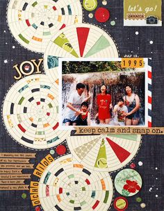 I like this, maybe use patterned paper I love for the circles with one photo or trim photos or stuff into circles themselves.  Geralyn Sy #scrapbooking