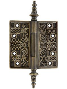 """4"""" Solid Brass Eastlake Steeple Tip Hinge In Antique-By-Hand Finish   House of Antique Hardware"""