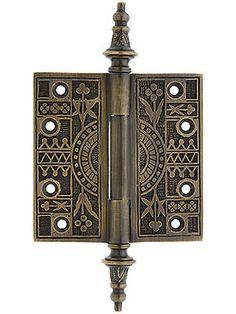 "Eastlake style door hinges - this was ""modern"" in the 1880s."