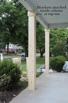 DIY Craftsman Style Porch Columns - Shades of Blue Interiors How to wrap existing porch columns in stained wood and build a craftsman style base unit to add character and curb appeal to your front porch.