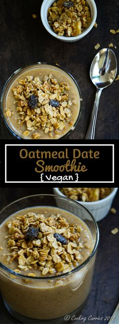 Oatmeal Date Smoothie A simple, easy, tasty and filling smoothie with oatmeal for some substance and dates for sweetness. This Oatmeal Date Smoothie is packed with nutrition that will keep you feeling good and full!