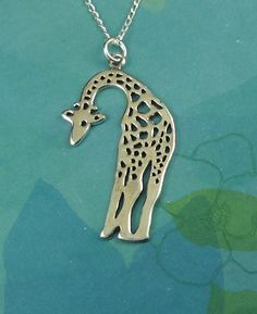 Giraffe Necklace Sterling Silver by maidstonelanejewelry on Etsy
