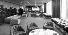 Chase-Manhattan Bank, New York, Skidmore Owings and Merrill, 1961 Corporate America, Googie, Manhattan, Mid-century Modern, Mid Century, Couch, History, Cool Stuff, Bed