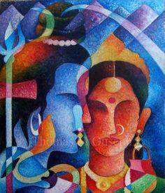 "Saatchi Art Artist Thomas Ouseph; Painting, ""Lord Siva and Parvathi"" #art"