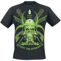 """Classica #TShirt """"Zombie Squad"""" nera della collezione #EMPRockSkulls con stampa verde neon sul davanti che mostra un teschio con elmetto e maschera antigas. Poco sotto sono stampate le scritte Rock Skulls e Fight The Epidemic."""