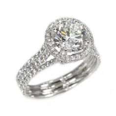 18K White Gold 2.03Ct Round Cut Diamond Engagement Ring Call for Price