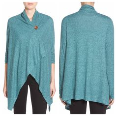 """•3 Left Bobeau Single button wrap Cardigan• • A perfect Spring staple for every woman. Dramatic, wrap-style cardi is cut with an asymmetrical hem and secured with a single button at the neckline. 28"""" length to longest point; 25"""" back length. Polyester/rayon/spandex or cotton/polyester/rayon. Photos 2 & 4 are the exact same cardigan in a different color to show style & fit options. Color available: Blue Merchant. Do not purchase this listing, ask me to create one for you. bobeau Sweaters…"""