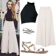 Sabrina Carpenter posted a picture today wearing the American Apparel Cotton Spandex Sleeveless Turtleneck Crop Top ($28.00), Topshop Palazzo Trousers ($105.00), and Call It Spring Bellana Ankle-Strap Sandals ($24.98). Get the look for less with cream colored wide-leg pants from Target ($27.99).
