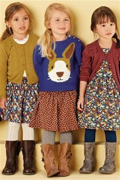 Outfit on the right.I have a bunny faced blue jumper. need to make a dress For me of course xx Latest Fashion For Women, Kids Fashion, Fashion Outfits, Fashion Trends, Cute Girl Outfits, Cute Outfits For Kids, Princess Style, Little Princess, Get Dressed