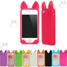 Cute Cat Ear Soft Silicone Phone Case Cover FOR IPHONE 4 4G 4S