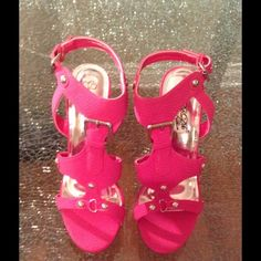 Pink wedges strappy sandals Cute pink strappy wedge heels. Never worn. Some of the pink is peeling off. That's why I lowered the price. Shoes Sandals