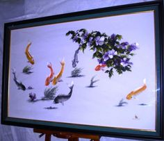 Koi and Flowers on Etsy, $589.00
