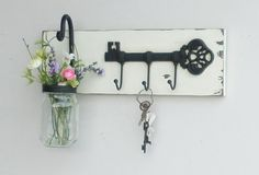 NEW...Rustic Cottage Key Shelf/Cast Iron by cottagehomedecor