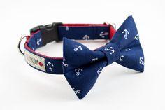 Navy Blue Anchor Dog Bow Tie Collar. $43.00, via Etsy.
