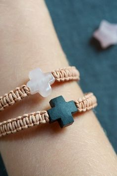 leather bracelet with cross by lebenslustiger on Etsy