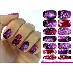 2016 New Water Transfer Nail Foil Sticker Art Sexy Flirtatious Purple Shine Flowers Nail Wraps Sticker Manicure Decals