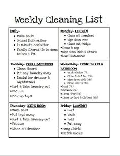 Cleaning Chart and children helping with chores.
