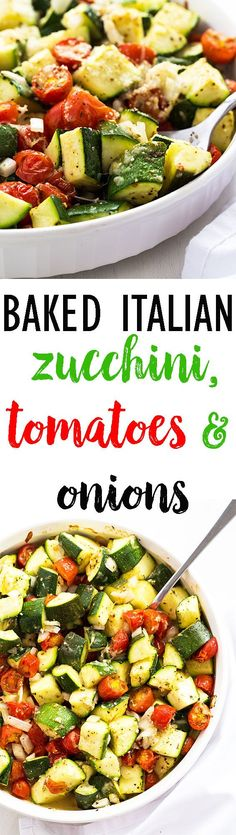 Zucchini, Tomatoes and Onions Baked Italian Zucchini, Tomatoes and Onions - A healthy and hearty veggie side dish!Baked Italian Zucchini, Tomatoes and Onions - A healthy and hearty veggie side dish! Side Dish Recipes, Vegetable Recipes, Vegetarian Recipes, Cooking Recipes, Healthy Recipes, Vegetable Samosa, Dishes Recipes, Vegetable Pizza, Vegetable Medley