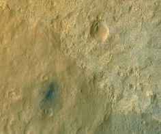 Wow - Mars Curiosity rover is that dot on the lower left. Descent stage blast pattern in blue around the rover (really grey, it's enhanced color). HiRISE rocks! Credit: MRO HiRISE