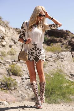 Festival Style: MAJOR fringe dress + gladiator sandals