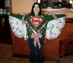 "The ""Super Santa"" sweater that I made for my school's 2nd Annual Tacky X-mas Sweater contest."