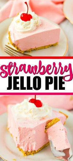 This Strawberry Jello Pie is the perfect cool and creamy treat to enjoy. Grab Cool Whip, Jello and a graham cracker crust and you're ready to make this quick jello pie. Cool Whip Pies, Cool Whip Desserts, Quick Easy Desserts, Jello Recipes, Köstliche Desserts, Dessert Recipes, Jello Pie Cool Whip, Pink Desserts Easy, Tiramisu Dessert