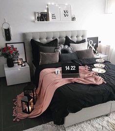 New room decor dorm bedroom ideas diy projects ideas Dream Rooms, Dream Bedroom, Home Bedroom, Bedroom Black, Room Decor Bedroom Rose Gold, Bedroom 2018, Master Bedrooms, Light Bedroom, Rose Gold And Grey Bedroom