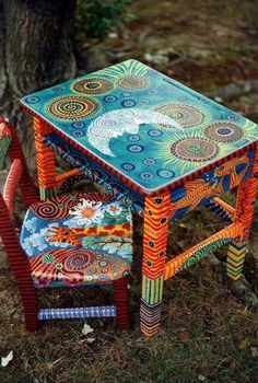 Boho furniture, accessories and design ideas Here I present you some possibilities . - Boho furniture, accessories and design ideas Here I present you some furniture, accessories and dec - Art Furniture, Funky Furniture, Colorful Furniture, Repurposed Furniture, Furniture Makeover, Colorful Chairs, Painting Furniture, Furniture Design, Decoupage Furniture