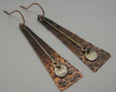 Metal Working Projects Ideas: Thoughts On No-Fuss Plans For DIY Black Smith Metal Working - Roland Chop Copper Jewelry, Silver Hoop Earrings, Wire Jewelry, Diy Metal Earrings, Urban Jewelry, Jewelery, Stud Earrings, Mixed Metal Jewelry, Metal Necklaces
