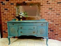 Sideboard painted in Homestead Blue by Fusion Mineral Paints! Embellishments are Fusion's  Bronze Metallic!