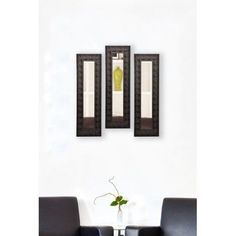 Rayne Feathered Accent Mirror Panel, Set of 3, Brown