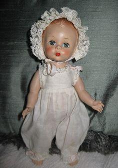 "VINTAGE Madame Alexander, ALEX Baby DOLL 7"" HP Original Outift, Button Mechanism"