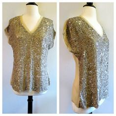 """SALE Chan Luu Sequin Embellished Silk Top Perfect condition. Raw silk in back. Rayon in front (where sequins are) Sheer in back. Sequins look like seashell colors close up :) Size XS but runs very large. Re-poshing because it does not fit me how I expected. Armpit to armpit is 20"""" laid flat. Shoulder to hemline is 25"""". Waist is 17.5"""" flat across. Chan Luu Tops"""