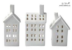 Lucerny   Bílá porcelánová lucerna domeček - sada 3 ks   La Déco