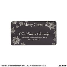 Snowflake chalkboard Christmas  address label #portosabbianatale #holidaysmail #christmaslabel