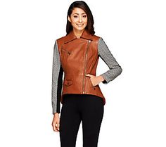ec01b23ce58b7 G.I.L.I. Leather Motorcycle Jacket with Woven Sleeves