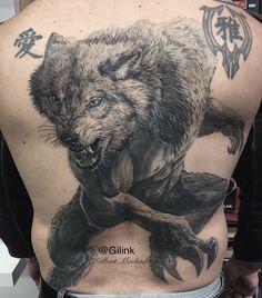 Wolf, werewolf, black and gray, tattoo, tattoos, backpiece, black rose,