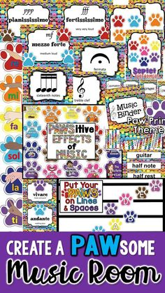 Create a PAWSitively perfect music classroom with this set of decorations. A paw print theme is the big idea behind this colorful set. Great for an elementary or middle school classroom, there are almost 300 pages of printables to create the perfect learning environment for your students.