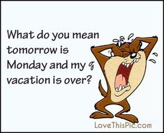 What do you mean Tomorrow Is Monday And Vacation Is Over sunday sunday quotes…