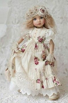 Clothes for Little Darling Outfit for doll Dress with cotton lace Boho multilayer outfit Dianna Effner clothes Rustic style dress with roses Sewing Doll Clothes, American Doll Clothes, Sewing Dolls, Girl Doll Clothes, Doll Clothes Patterns, Dress Patterns, Little Girl Dresses, Flower Girl Dresses, Doll Dresses