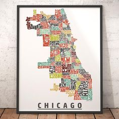 Chicago map art Chicago art print Chicago typography map