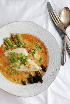 Pan-Seared Cod in Spiced Coconut Milk Broth. I love curry but I am guaranteed to have this dish rejected by my husband.