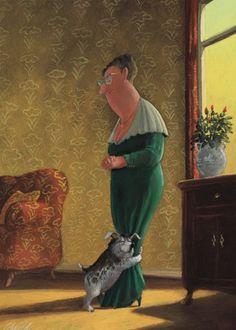 Der erste Gratulant: Illustration by Gerhard Glück (10,5 x 14,8 cm Postkarte, €1.00) #illustration #Gerhard_Glueck