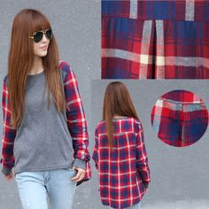 Fashion Women Ladies Plaid Checked Long Sleeve Casual Loose T-shirt Tops Blouse  #  L0341143 $8.65