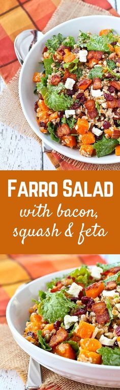 Farro Salad with Butternut Squash, Bacon, Cranberries, Kale and Feta. This hearty salad is fall in a bowl! Get the easy recipe on RachelCooks.com!